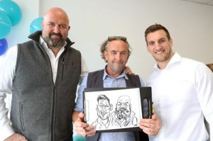 Gregg with Sam Warburton - Caricaturist for corporate events